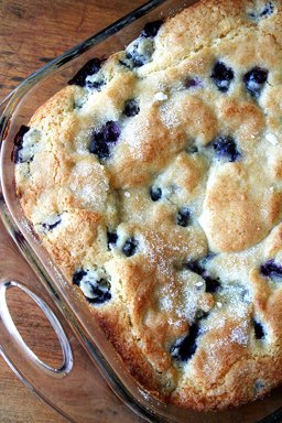 Overhead close-up of breakfast cake in glass baking pan